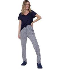 pijama feminino manga curta decote v calça longa luna cuore