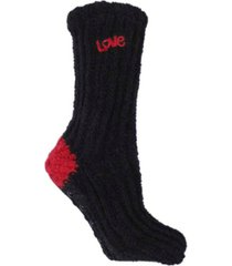 minxny women's non-skid warm soft and fuzzy slouch love print aroma sole slipper socks, 2 piece