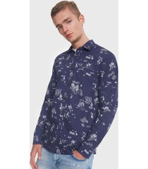 camisa desigual estampada azul - calce slim fit