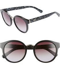 longchamp 51mm round sunglasses in marble black at nordstrom