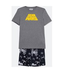 pijama curto estampado com star wars   star wars   cinza   gg