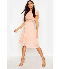 chiffon skater jurk met kanten topje, blush