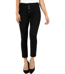 women's kut from the kloth reese button fly ankle straight leg jeans, size 00 - black