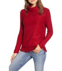 women's beachlunchlounge fringe finish cowl neck sweater, size x-large - red