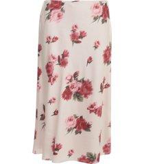 blumarine roses printing silk skirt w/buckle