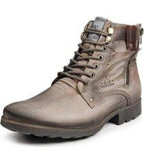 bota coturno couro calprado zíper masculina