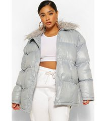 plus padded high shine puffer with faux fur collar, grey