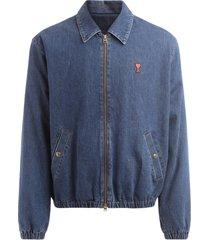 ami de coeur bomber jacket in blue washed denim