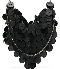 paco rabanne scale-sequin heart tote bag - black
