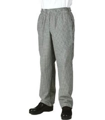 new chef works nbcp small checks basic baggy chef pants, black/white, large