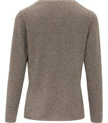 trui van scheerwol en kasjmier met ronde hals van include bruin