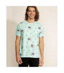 camiseta masculina ricky and morty manga curta gola careca verde água