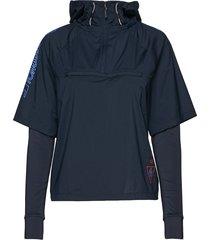 woven 1/2 zip shell hoodie trui blauw tommy sport