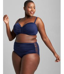 lane bryant women's eco-friendly multi-way strappy underwire swim bikini top 46dd new navy