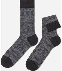 calzedonia patterned lisle thread ankle socks man black size tu
