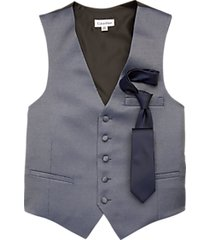 calvin klein blue modern fit formal vest & tie set