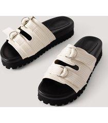 na-kd shoes chunky sandaler med dubbla spännen - offwhite