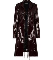 supriya lele tie fastening detail vinyl coat - red