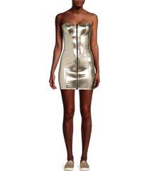 lisa marie fernandez women's metallic front-zip mini dress - white gold - size xs