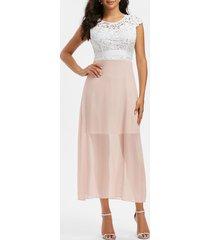 lace crochet chiffon open back prom dress