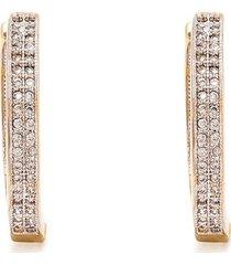 brinco kumbayá argola dois lados articulados impéria semijoia banho de ouro 18k cravação de zircônias detalhe em ródio