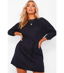 plus zachte geribbelde oversized mini jurk met ceintuur, black
