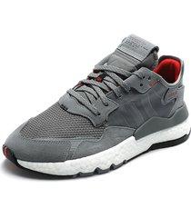 tenis lifestyle gris-blanco adidas originals nite jogger