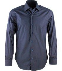barba napoli slim fit man shirt model hand-sewn stretch black stretch label