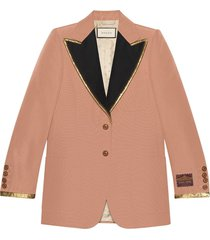 gucci cotton viscose faille jacket with label - pink