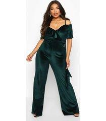 plus velvet ruffle cold shoulder wrap jumpsuit, emerald