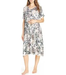 women's nesting olive floral print maternity/nursing sleep shirt, size small/medium - green