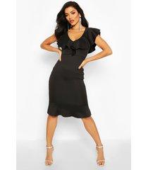 frill neck fishtail midi dress, black
