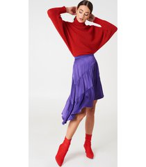 na-kd shiny asymmetric skirt - purple