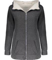casual hooded long sleeve fleece pocket design zippered women's coat