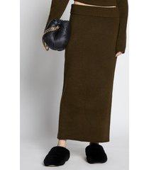 proenza schouler wool knit long skirt dark loden/green l