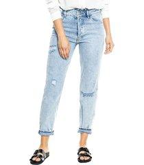 high waist straight jeans con botonadura interna y detalle de recogido en pretina color blue