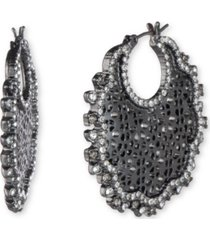 marchesa hematite-tone medium crystal filigree hoop earrings, 1.41""