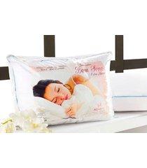 travesseiro anti acaro, anti alergico e lavavel em fibra siliconada - travesseiro bom sono - aquarela - branco - dafiti