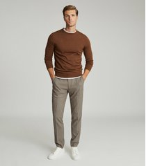 reiss godalming - puppytooth slim fit trousers in chocolate, mens, size 38