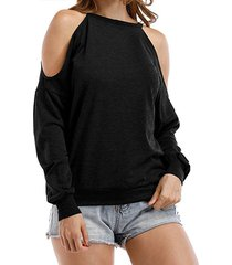 black cut out cold shoulder round neck long sleeves loose t-shirt