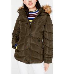 madden girl juniors' faux-fur trim hooded puffer coat