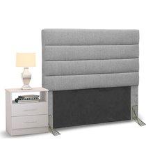 cabeceira cama box solteiro 90cm greta linho cinza e 1 mesa de cabeceira branco - mpozenato - unico - dafiti