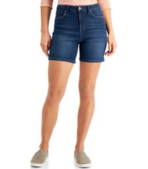 style & co tummy-control denim shorts, created for macy's