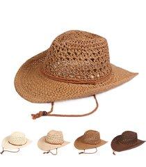 cappello da cowboy classico solido per uomo. cappello da paglia regolabile antivento traspirante per il tempo libero