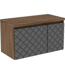 gabinete para banheiro em mdf mônaco 80cm terracota e preto
