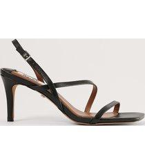 na-kd shoes klackskor i skinn med remmar - black