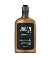 shampoo urban men ipa 3x1 240 ml único