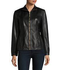 leather princess-seam jacket