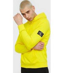 calvin klein jeans monogram sleeve badge hoodie tröjor solar