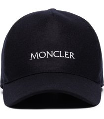moncler panelled logo-embroidered baseball cap - blue